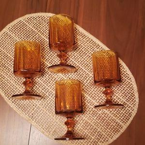 Set of 4 Vintage Amber Glasses